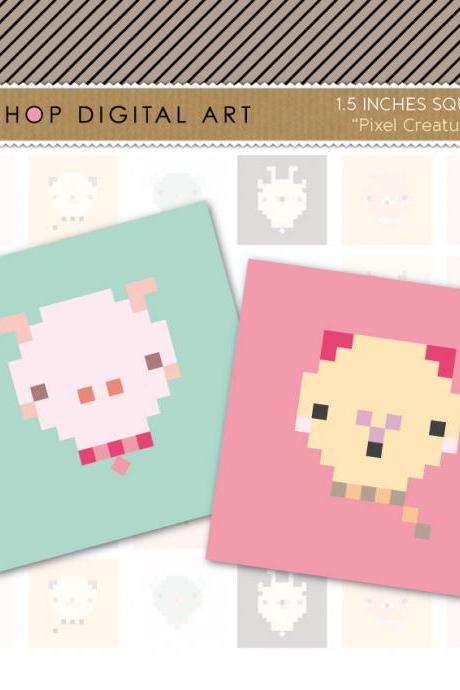 1.5' Digital Collage Sheet Squares Animals - Pixel Creatures - INSTANT DOWNLOAD - Buy Any 2 Packs Get 1 Free
