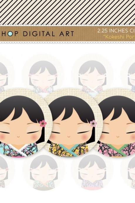 "2.25"" Digital Collage Sheet Circles - Kokeshi Dolls Portrait"