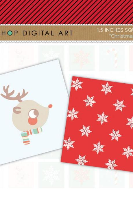 "1.5"" Digital Collage Sheet Squares - Christmas"