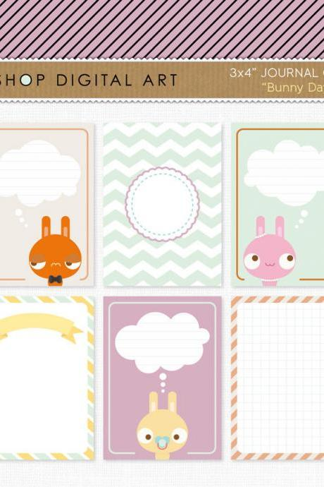 6 Printable Journal Cards Project Life - Bunnies 3x4 inches - INSTANT DOWNLOAD - Buy Any 2 Packs Get 1 Free