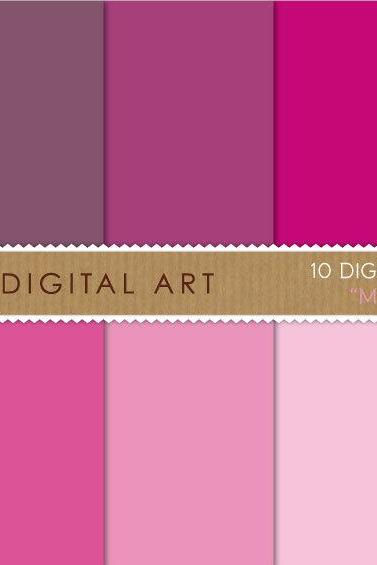 Digital Papers Magenta Shades 12x12 inches - INSTANT DOWNLOAD - Buy Any 2 Packs Get 1 Free