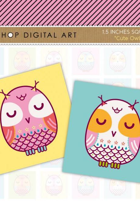 1.5' Digital Collage Sheet Squares Owls - Cute Owls - INSTANT DOWNLOAD - Buy Any 2 Packs Get 1 Free