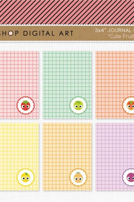 6 Printable Journal Cards Project Life - Cute Fruits 3x4 inches - INSTANT DOWNLOAD - Buy Any 2 Packs Get 1 Free