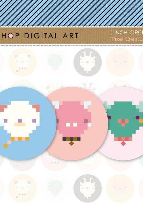 1' Digital Collage Sheet Circles Animals - Pixel Creatures - INSTANT DOWNLOAD - Buy Any 2 Packs Get 1 Free