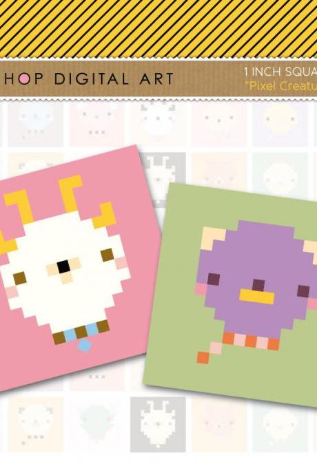 1' Digital Collage Sheet Squares Animals - Pixel Creatures - INSTANT DOWNLOAD - Buy Any 2 Packs Get 1 Free