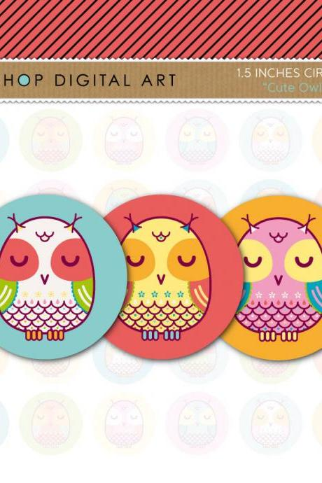 "1.5"" Digital Collage Sheet Circles - Cute Owls"