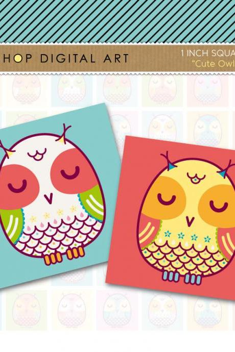 1' Digital Collage Sheet Squares Owls - Cute Owls - INSTANT DOWNLOAD - Buy Any 2 Packs Get 1 Free