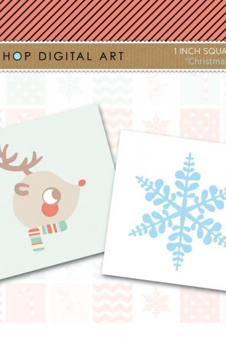 1' Digital Collage Sheet Squares Christmas - INSTANT DOWNLOAD - Buy Any 2 Packs Get 1 Free