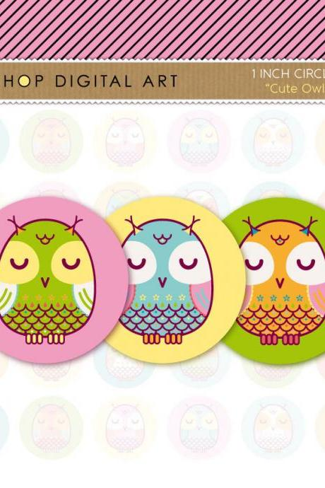 1' Digital Collage Sheet Circles Owls- Cute Owls - INSTANT DOWNLOAD - Buy Any 2 Packs Get 1 Free