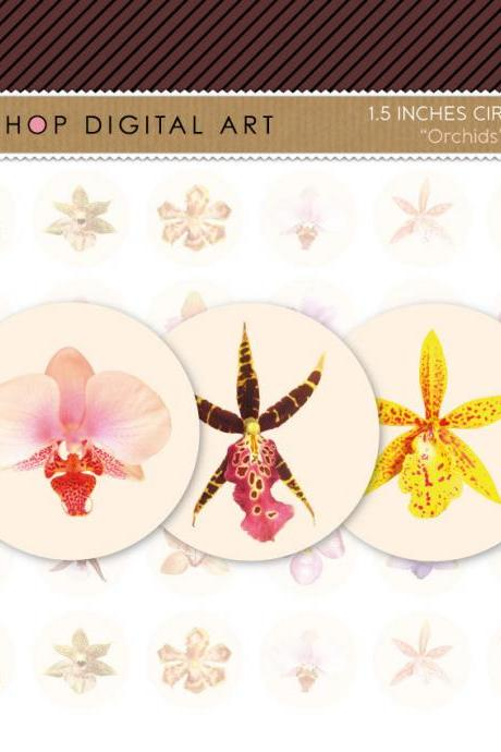 1.5' Digital Collage Sheet Circles - Orchids Flowers - INSTANT DOWNLOAD - Buy Any 2 Packs Get 1 Free