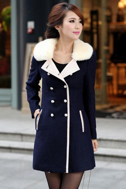 Free Shipping Fashion Cashmere Long Coat for Woman - Navy Blue