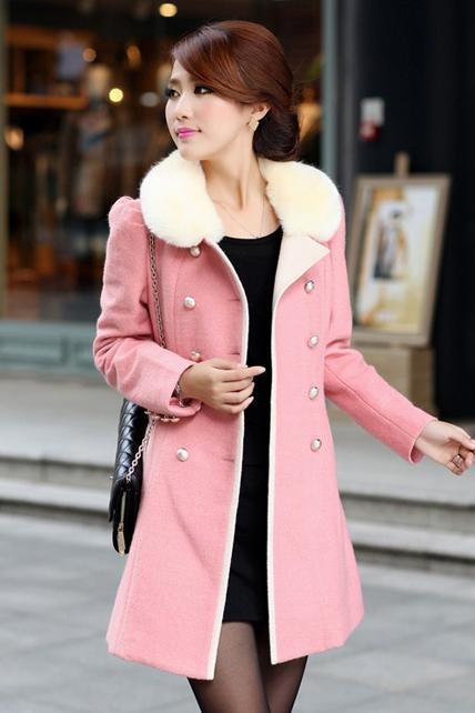 Free Shipping Fashion Cashmere Long Coat for Woman - Pink