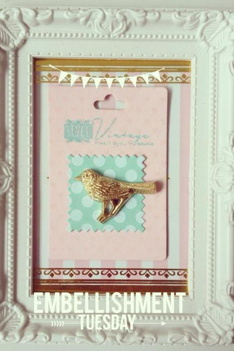 Gold Bird Cameo Embellishment