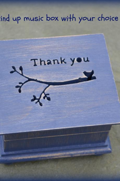 music box, wooden music box, thank you, thank you gift, custom made music box, personalized music box