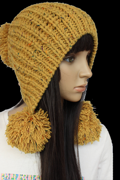 Yellow Slouchy woman handmade knitted hat clothing cap
