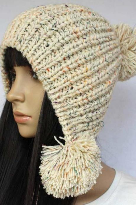 Beige Slouchy woman handmade knitted hat clothing cap