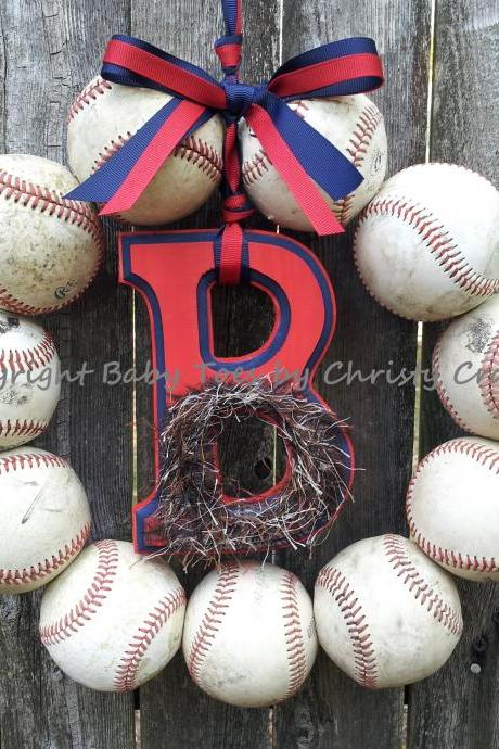 Bearded Boston Red Sox Baseball Wreath