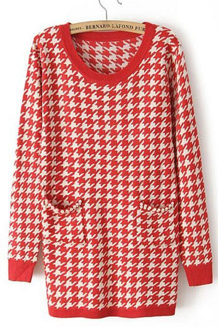 Simple Plaid Round Neck Pullovers with Pockets - Red