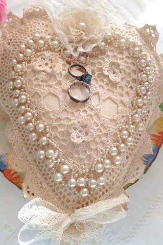 Wedding Ring Bearer Pillow - Vintage Pearl