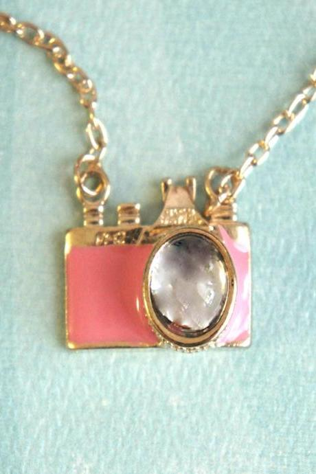 pink camera necklace