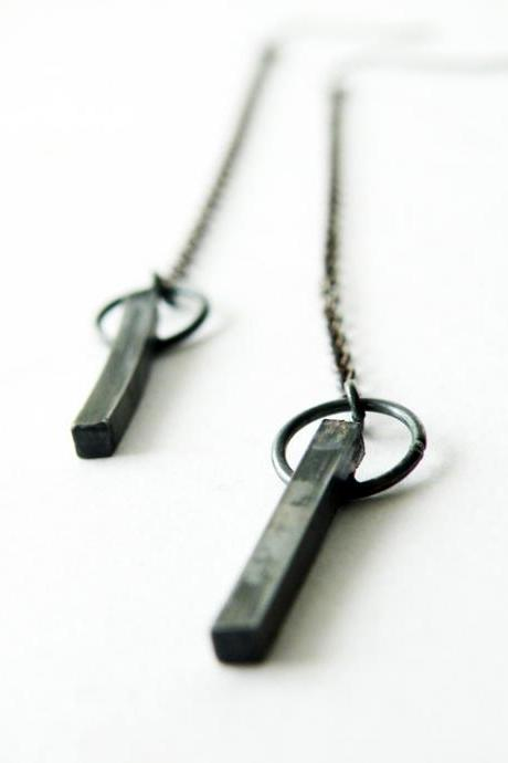 Black Oxidized Sterling Silver Dangle Earrings Long Chain Modern Long Squared Earrings Antiqued finish by SteamyLab