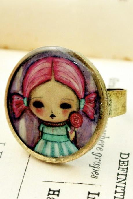 Lollypop - Original Handmade Big Brass Adjustable Ring Jewelry by Danita