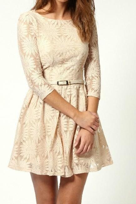 Fashion Elegant Lace Dress With Belt - Beige