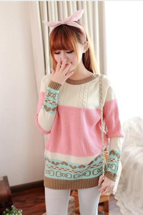 Sweet Women Crew Neck Mosaic Shirt Sweater-Pink