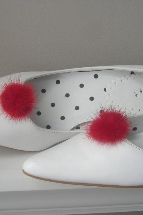 Genuine Mink Fur Ball Shoe Clips in Red