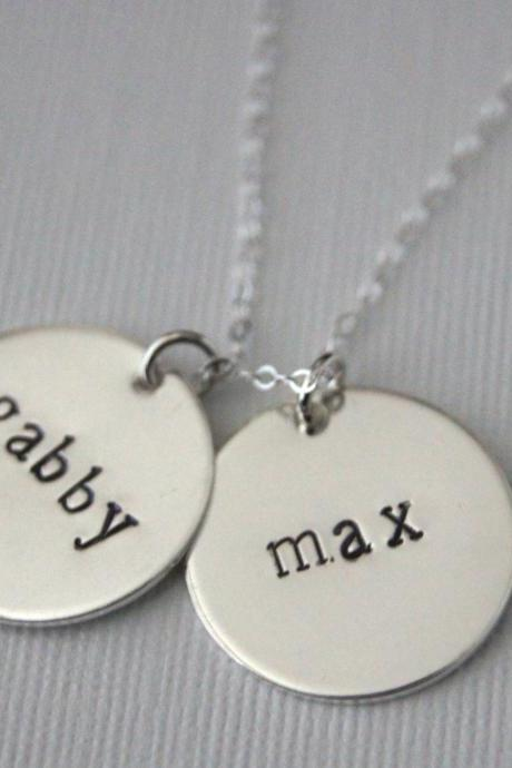 Personalized Sterling Silver double disc necklace, two 3/4' discs