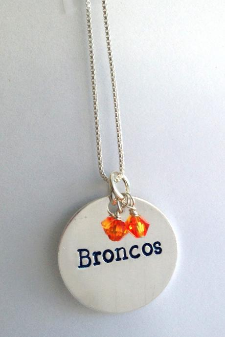 Sterling Silver Broncos Necklace