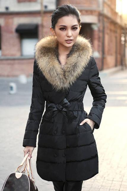 Luxury Animal Fur Decoration High Waist Down Jacket - Black