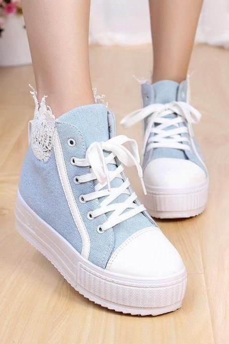 Lace heavy-bottomed platform shoes denim canvas shoes casual shoes 1BADBCC