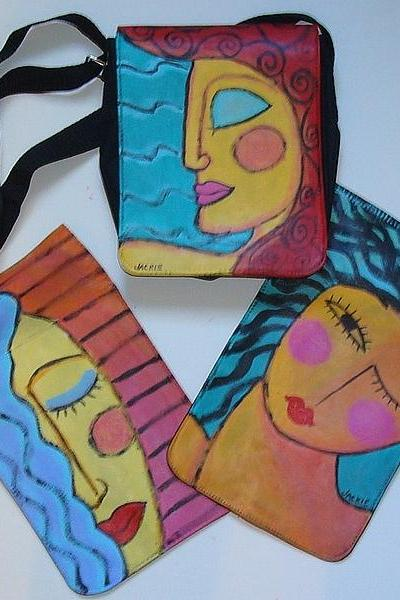 Small Hand Painted Handbag with 3 Changeable Flaps