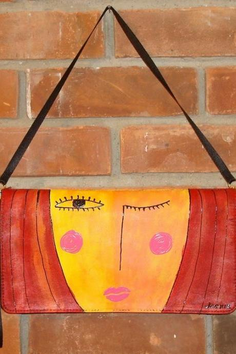 Hand Painted Handbag Purse Clutch My Funky Abstract Painting of a Red Haired Woman
