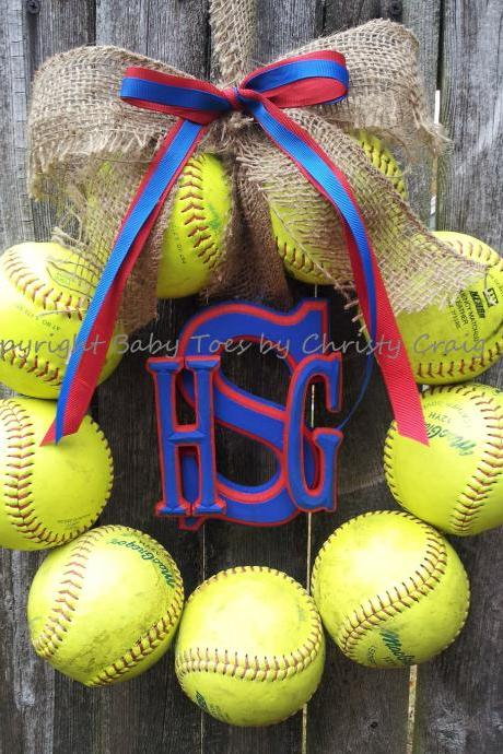 Monogram Softball Wreath with Burlap and Ribbon