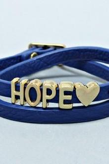Wrap Bracelet 'Hope' in Navy