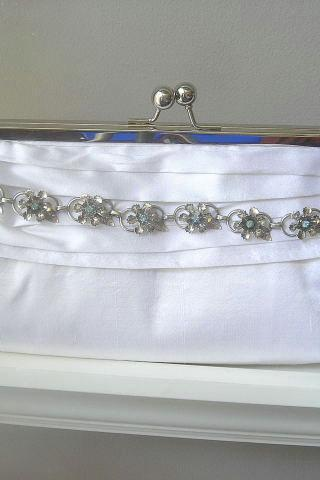 Vanessa Dupioni Silk Bridal Clutch in White with Vintage Rhinestone Jewelry - Ready to Ship