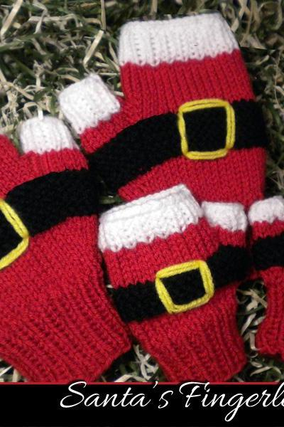 Santa's Fingerless Mitts Knitting Pattern