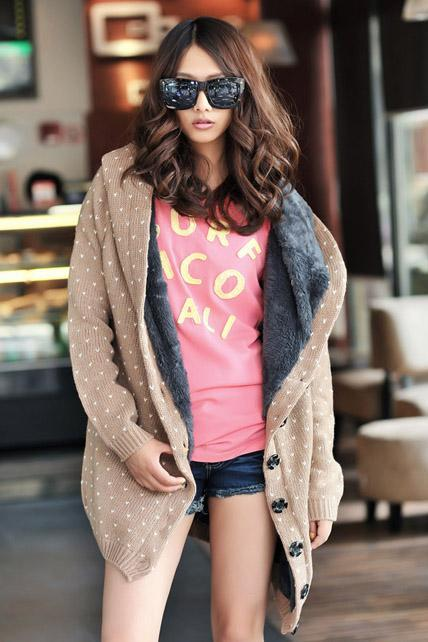 Bestselling Polka-dot Light tan Knitting Wool Hooded Cardigans
