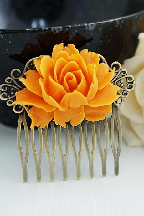 Wedding hair accessories, bridal hair accessories, bridal hair comb, Vintage Style deep orange Rose Hair comb, bridesmaid gift