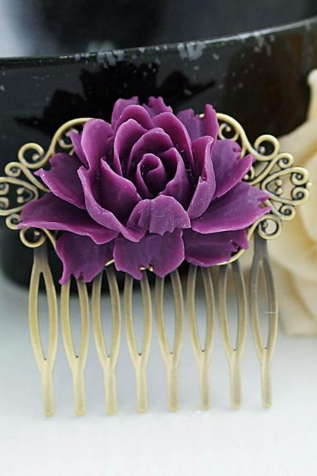 Wedding hair accessories, bridal hair comb, bridal hair accessories, Vintage Style Amethyst Purple Rose Hair comb, bridesmaid gift