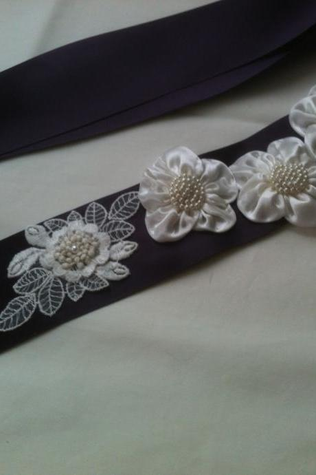 Bridal Sash - Wedding Sash - Eggplant - Lacy Appliques - Ivory Satin Flowers - Handmade in Colorado