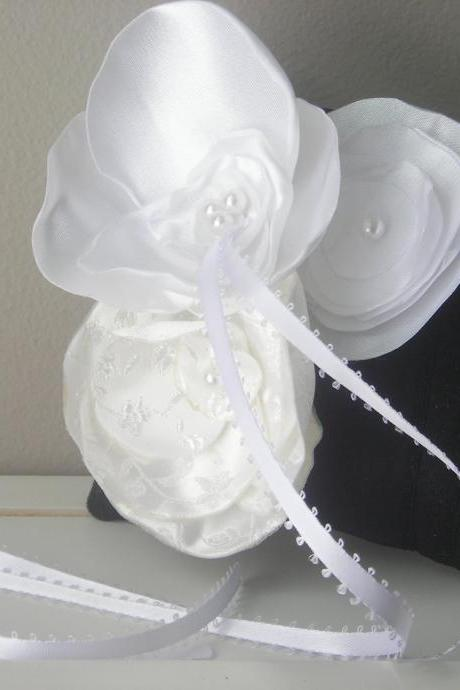 Small Black Dupioni Silk Ring Bearer's Pillow with White and Off White Accent Flowers - Ready to Ship