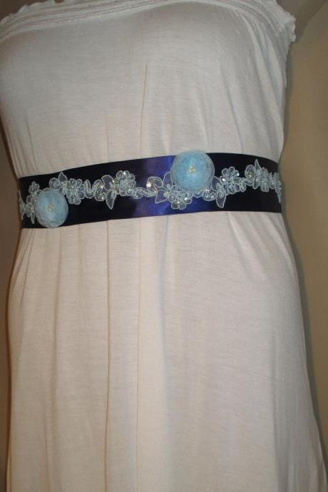 Bridal Sash - Wedding Sash - 3 Handmade Organza Flowers - Blue - Blue Lace - Dress Sash - Handmade in Colorado