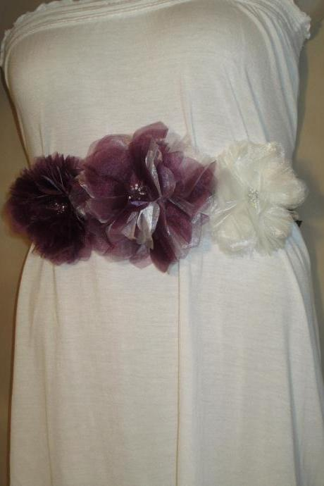 Beautiful Eggplant and Ivory Bridal Sash with 3 Large Handmade Organza Flowers - Handmade in Colorado