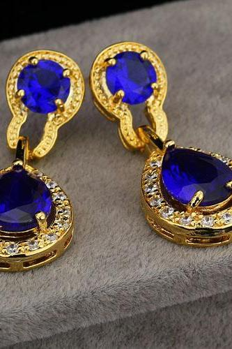 Luxurious 18KGP Blue Cubic Zirconia Princess Lady Earrings