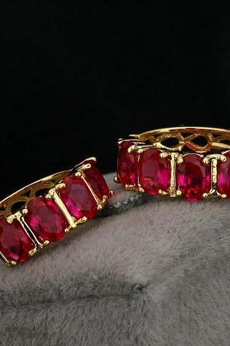 Luxurious 18KGP Ruby Lady Earrings