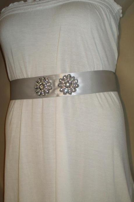 Bridal Sash - Wedding Sash - Gray/Silver Ribbon - Dress Sash - Rhinestone Applique Embellishment - Handmade in Colorado