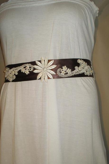 Bridal Sash - Wedding Sash - Brown Ribbon - Flower Appliques - Ivory Lace - Ivory Beads -Dress Sash - Handmade in Colorado